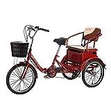 EURYTKS Triciclo de Carga Bicicleta de Tres Ruedas Rojo 6 velocidades 20 Pulgadas Triciclo para Adultos Triciclo Plegable Cesta de Carga para Picnic Compras Trabajo Hombres y Mujeres