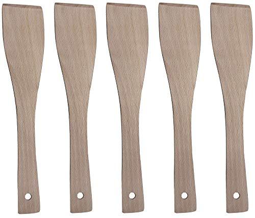 Grillplanet Pfannenwender Holz Set Holzschaber Holzwender Wender Schaber Spachtel Kochlöffel Holzkochlöffel (5 Stück)