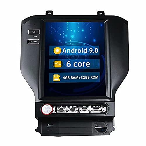 ROADYAKO Indash Android 9.0 Unidad Principal de PC para automóvil Radio estéreo para Ford Mustang 2014 2015 2016 2017 2018 Navegación GPS para automóvil 4G WiFi RDS Bluetooth FM Am Control