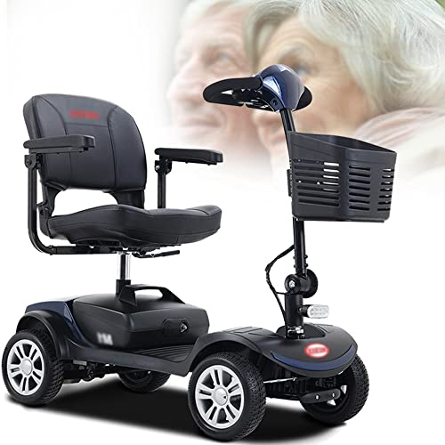 ZWJABYY Scooter Electrico,Plegable PortáTil De Ancianos Scooter,Mobility Scooter,12Ah 250W para Personas Mayores Patinete,Resistencia 16Km,Rueda De 9 Pulgadas,Carga 120Kg/265Lb,Blue