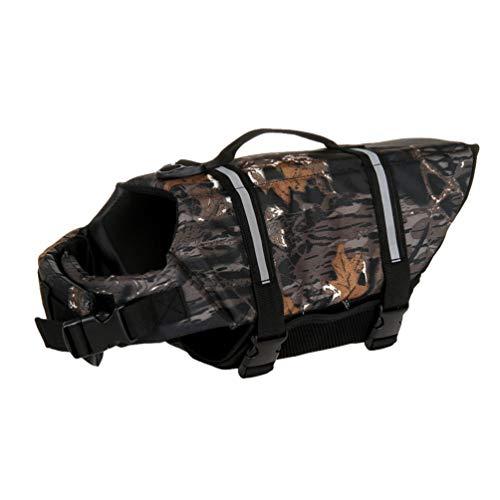 YOUJIAA Chaleco Salvavidas para Perros Chaleco Reflectante Velcro Ajustable Mascotas Seguridad Natación Ropa con Mango de Rescate (Camuflaje Negro, M)