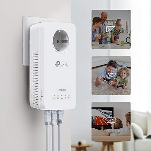 TP-Link Gigabit WLAN WiFi Powerline Adapter Set mit Steckdose AV1300 AC1200 TL-WPA8631P KIT (ideal für Media-Streaming, Wifi Clone, MU-MIMO, App Steuerung, 4 Gigabit Ports, Plug & Play, AP Modus) weiß