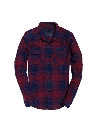 Superdry Herren M40005BP Hemd, Mehrfarbig (Lavenham Red Check), Medium
