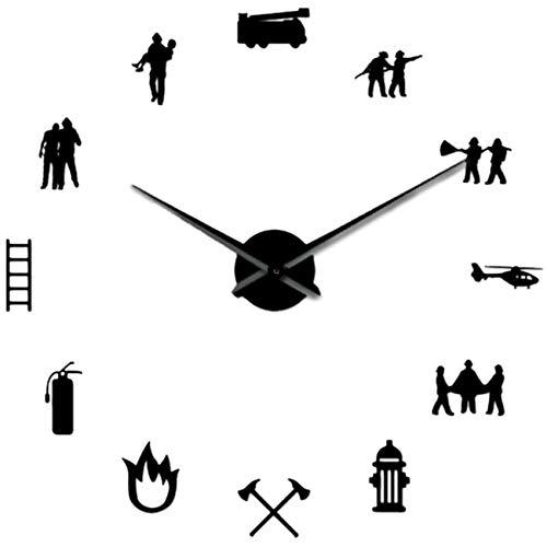 Exanko Bombero Amor DIY Reloj de Pared Gigante Departamento de Bomberos Oficina Reloj Grande Reloj Bombero Rescate Voluntario Hacha Hidrante Equipo Negro