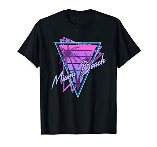 Adults Retro Miami Beach 80s Triangles Graphic T-shirt, S to 3XL