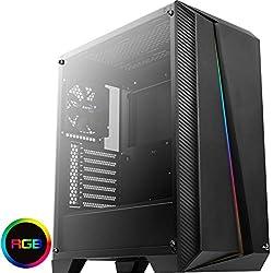 Aerocool CYLONPROBG, Case per PC ATX RGB, vetro temperato, ventola da 12cm, Nero
