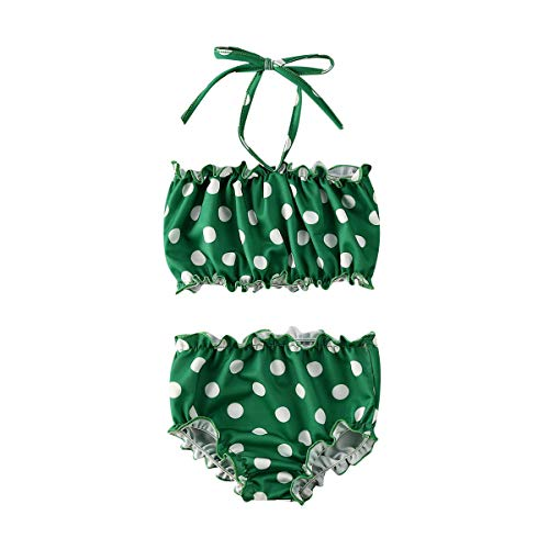 1-5Y Toddler Kids Baby Girl Swimsuit Polka Dot Halter Bikini Top Bottoms 2 Pieces Bathing Suit Beachwear (Green, 3-4 Years)