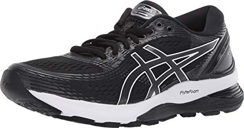 ASICS Women's Gel-Nimbus 21 Running Shoes, 8M, Black/Dark Grey