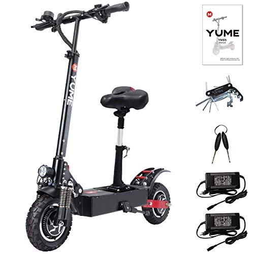 """Yume D5 Electric Scooter for Adult Dual Motors 23.4AH Battery 52V 2400W up to 40 MPH 40 Miles Foldable Sports Scooter 10"""" Off Road Tires 330lbs Max Loading with Removable Seat"""