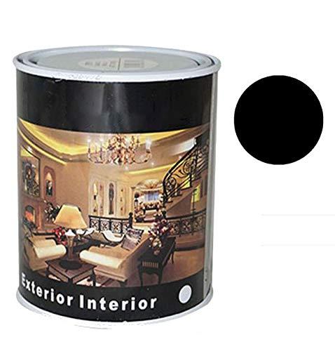 Pintura Esmalte al Disolvente para Madera y Metal, Pintura Alquidica de Rápido Secado para Superfícies Interiores y Exteriores(Negro Mate, 375 ML)
