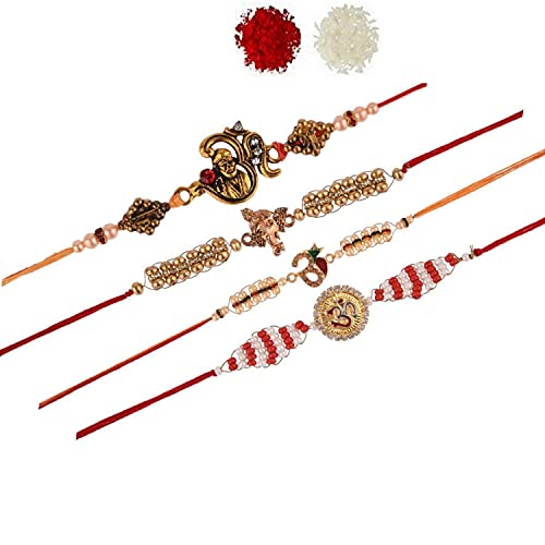 Efulgenz OM Ganesh Rakhi - Pulsera de perlas de imitación para hermano (4 unidades)