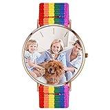 Reloj Moderno para Mujeres Resistente a Agua y Golpes y Arañazos PU Artesanal Rejos Pulsera Personalizado Forma Redondo Joyería de Buen Regalo Banda Multicolor Color Nylon