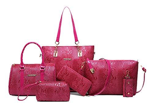Yan Show dames schoudertassen Totes Patent lederen handtassen met bijpassende portemonnee portemonnee 5 stuks Set