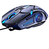 Raton Gaming con Cable USB , Ratones ergonomico de Juego 6 Botones Profesional,, retroiluminación G5 para Juegos 7 Colores, , silencioso Mouse para Juegos con Cable USB y Raton Ordenador