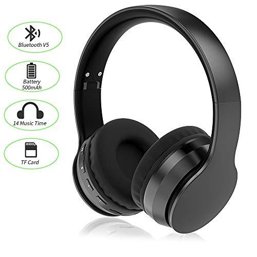 Ifecco Auriculares estéreo Bluetooth Plegable Auriculares para Colocar sobre la Oreja Sonido de Alta fidelidad Micrófono Manos Libres Incorporado con Cable de Audio para iPhone, PC, Mac (Negro)