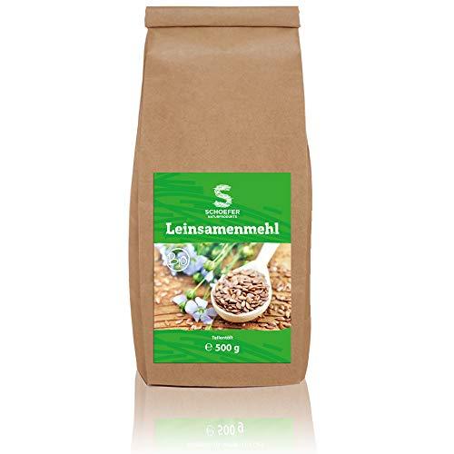 Schoefer Naturprodukte - Bio Leinsamenmehl | Veganes, teil-entöltes Leinsamenmehl | Glutenfrei und für Low Carb Ernährung aus dunklen Leinsamen | 500g