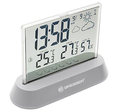 Bresser Wetterstation Funk mit Außensensor Translucidus mit transparentem Display mit Vorhersage, Zeit- und Datumsanzeige, Innen- und Außentemperatur und Innenluftfeuchtigkeitsanzeige