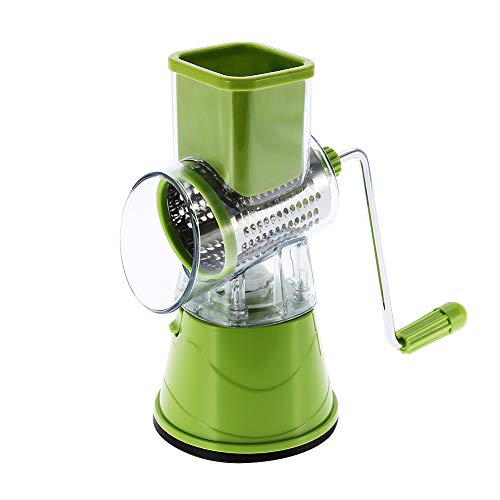 Multifunctional Roller Manual Rotatory Cutter Slicers Shredder Stainless Steel Master Grater for Kitchen Cheese Vegetables Drum Grater with Suction Cup Feet (Green)