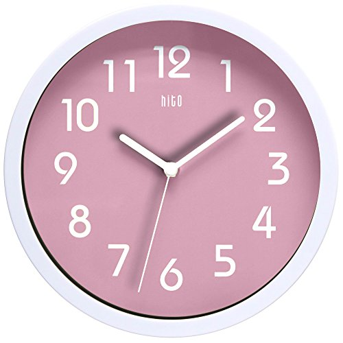 hito Silent Girls Wall Clock Non Ticking 10 inch Excellent Accurate Sweep Movement Glass Cover, Modern Decorative for Kitchen, Living Room, Bathroom, Bedroom, Office (Pink)