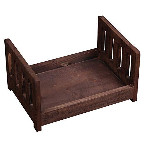 Accesorios para fotografía de bebé posando cuna, fondo desmontable mini cama de madera estudio de fotos de cuna para recién nacido cama para accesorios de hogar Tamaño libre café