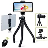 Endurax Flexible Tripod for Phone Camera Tripod Stand with Universal Cell Phone & Tablet Holder Mount Compatible with iPhone, iPad, DSLR, Sports Camera, Remote Shutter Included for Selfie or Vlogging