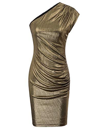 GRACE KARIN Womens Off Shoulder Mini Metallic Shiny Cocktail Party Bodycon Dress Bronze XXL