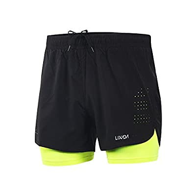 Lixada Men's 2-in-1 Running Shorts Quick Drying Breathable Active Training Exercise Jogging Cycling Shorts Green