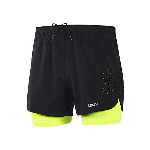 Lixada Pantaloncini da Running da Uomo, Pantaloncini da Corsa 2 in 1, Asciugatura Rapida, Allenamento Attivo Traspirante, Pantaloncini da Ciclismo da Jogging da Corsa con Fodera più Lunga