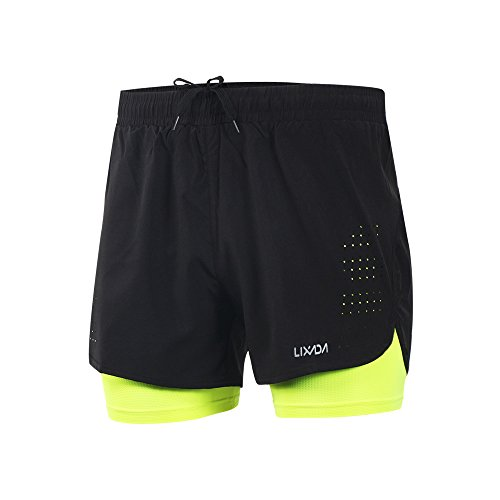 Lixada Men's 2-in-1 Running Shorts Quick Dry Breathable Active Training Exercise Jogging Cycling Shorts with Longer Inner Shoe, Green, L