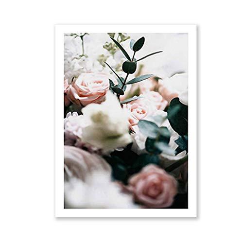 Moderne Pfingstrosen Blumen Leinwand Gemälde Galerie Blumen Wandkunst Poster Drucken Nordische Bilder für Wohnzimmer Interior Home Decor 40x50 cm