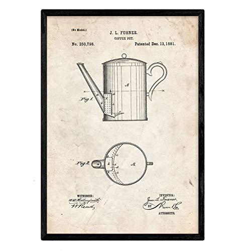 Nacnic Poster con Patente de Cafetera. Lámina con diseño de Patente Antigua en tamaño A3 y con Fondo Vintage