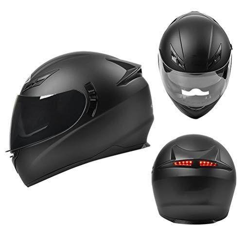 DaMuZ Motorrad Integralhelme,ECE Zertifiziert Motorradhelm Mit Anti-Fog Schwarz Visier LED-Rücklicht Integral-Helm Scooter-Helm Roller-Helm Mofa-Helm Bobber Racing Helmet
