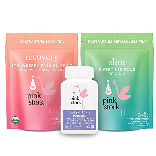 Pink Stork Recovery Bundle: Postpartum Prenatal Vitamins, Supports Labor & Delivery + Green Tea to Support Energy & Metabolism, Women-Owned