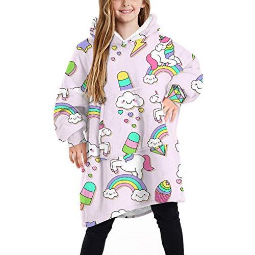 Oversize Blanket Hoodie for Kids Cute Fluffy Sherpa Fleece Giant Hooded Sweatshirt with Large Pocket for Children Teens