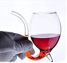 Jishu 2 Stks 300 ml Rode Wijnglas Cup Transparant Glaswerk Mok met Drinkbuis stro