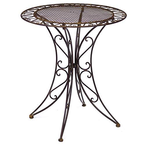 aubaho Gartentisch Eisen Schmiedeeisen Tisch Bistrotisch Gartenmöbel antik Stil braun
