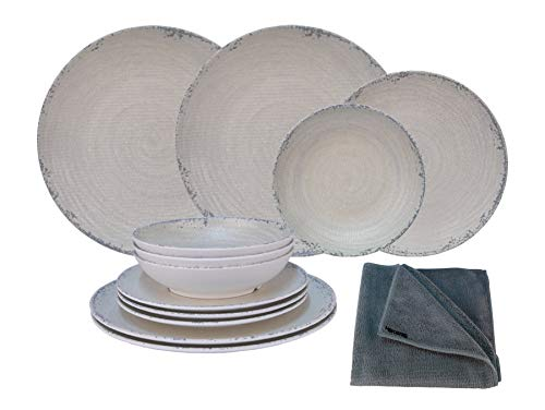 HEKERS Vajilla de 100 % melamina Luna Beige – Juego de 12 piezas para 4 personas / 1 x paño de microfibra gris de Hekers para exteriores, picnic, camping, apto para lavavajillas ⭐