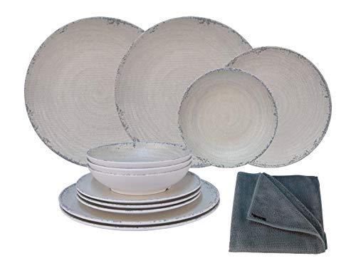 HEKERS Vajilla de 100 % melamina Luna Beige – Juego de 12 piezas para 4 personas / 1 x paño de microfibra gris de Hekers para exteriores, picnic, camping, apto para lavavajillas
