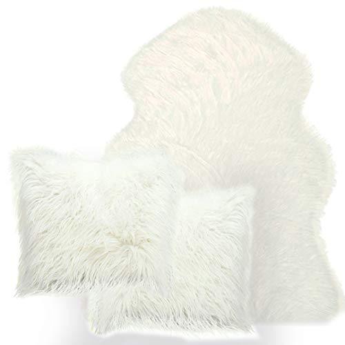 Best Gift Set 3-Piece Soft Faux Fur White Sheepskin(2x3) ft Rug Sofa +2 Decorative Fluffy Pillowcase