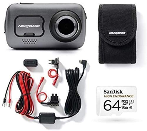 Nextbase 622GW 4K Dash Cam, Hard Wiring Kit, Class 10 U3 64GB SD Card & Case- Full 4k/30fps UHD In Car Camera- Wifi Bluetooth GPS- Super Slow Motion 120fps- Image Stabilisation what3words 140° Front