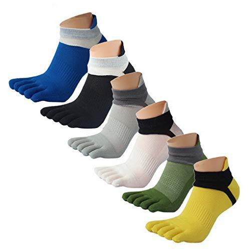 ACMEDE Herren Zehensocken Bauwolle Socken Sport Laufen Toe Socks 6 Paar (45-50)