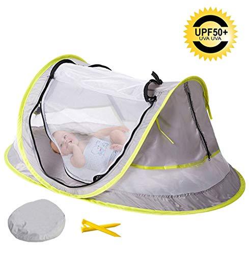 ZXYWW Baby Beach Tent, Baby Travel Bed Draagbare Pop Up Beach Tent, UV Zonwering met Opbergtas en Mesh Ramen en Ademende Reis Muggennetje Bed