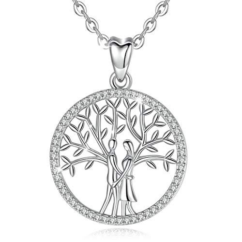 CELESTIA Tree of Life Sterling Silver Necklace for Women Family Celtic Circle Jewelry Gifts for Women Mom - 18 Inch Chain