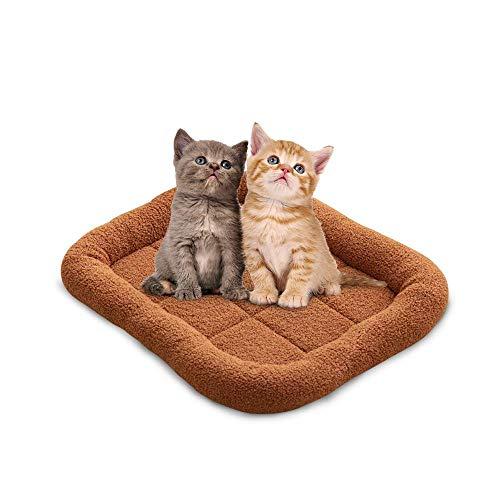 Volwco Haustierbett für Katzen oder kleine Hunde, Hundebett, Kissen mittelgroß, für Hundekäfig, Hundekäfig, Hundekäfig, Katzenkissen, maschinenwaschbar, rutschfeste Unterseite, braun, S