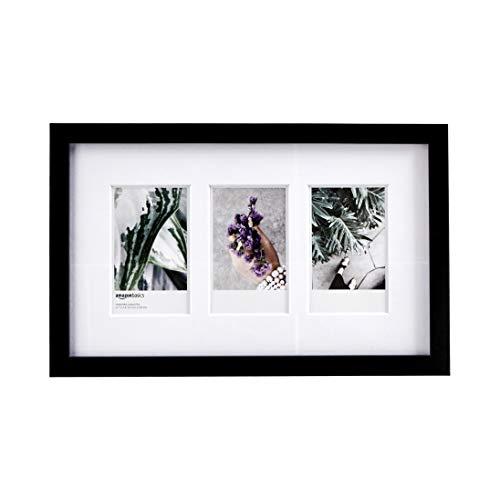 AmazonBasics - Marco de fotos de Instax, 3 huecos, 8 x 5 cm, color negro