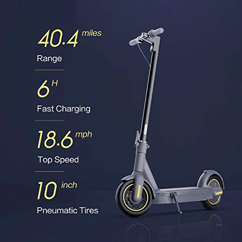 Segway Ninebot MAX Electric Kick Scooter, Up to 40.4 Miles Long-range Battery, Max Speed 18.6 MPH, Foldable and Portable, Dark Grey