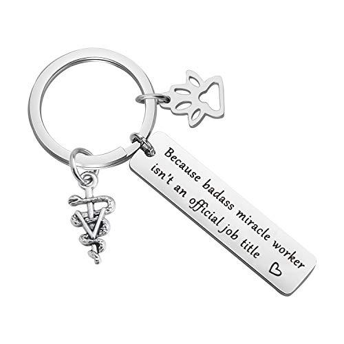 MYOSPARK Veterinarian Keychain Gift Because Badass Miracle Worker Isn't An Official Job Title Vet Tech Appreciation Gift Veterinary Medicine Jewelry (Veterinarian Keychain)