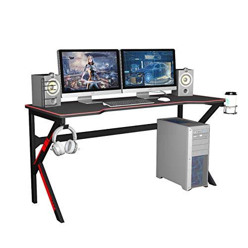 SogesPower Gaming Schreibtisch Computertisch K-Form Gaming Tisch Schreibtisch Computer Gamer Tische Ergonomischer PC Schreibtisch mit Mauspad Kopfhörer-Haken Kunststoff Becherhalter SP-LJ-1909-160