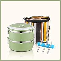 積み重ね可能なステンレススチールランチボックスとランチバッグ,大人のための食器が付いている漏れ防止食品貯蔵容器 オフィス-c 14.5x14.5cm(6x6inch)
