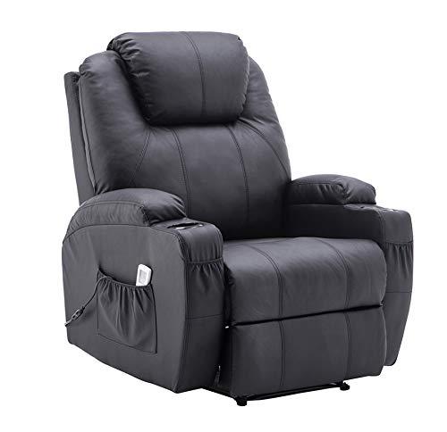 MCombo Elektrisch Relaxsessel Massagesessel Fernsehsessel Liegefunktion Vibration Heizung 7061BK Schwarz neues Modell